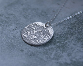 Hand made silver lace print necklace, hand stamped lace necklace, PMC silver necklace with extra fine sterling silver chain, lace pendant.