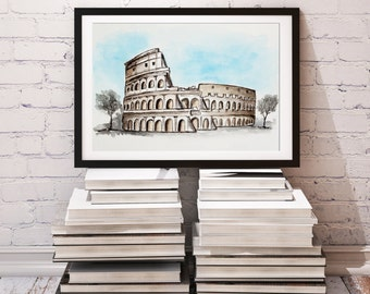 Colosseum art, Watercolor Painting, Italy art, Rome, Travel Illustrator, Modern Wall art, Home Decor, Holiday gift, Art decor, City art