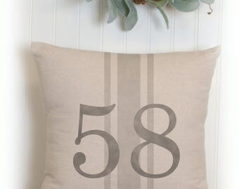 Custom Number Pillow Cover, Grain Sack Stripe and Number