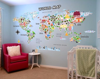 Animal Map - Cultural World Map Wall Decal - Reusable Vinyl Fabric - Repositionable Decal - Nursery Room Decals - Clear Decals