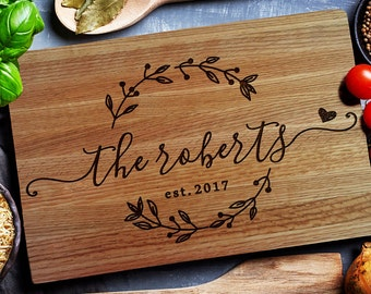Personalized Cutting Board, Custom cutting Board with Juice groove ,Wedding Monogram,  Closing gift (157)
