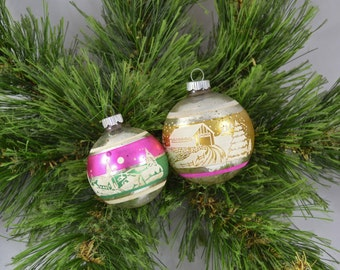 Vintage Shiny Brite Stenciled And Striped Glass Globe Christmas Ornaments
