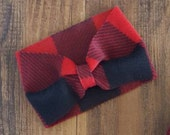 Buffalo Plaid Fleece Headwrap for babies and toddlers - 4 sizes available - red and black plaid turban headband ear warmer