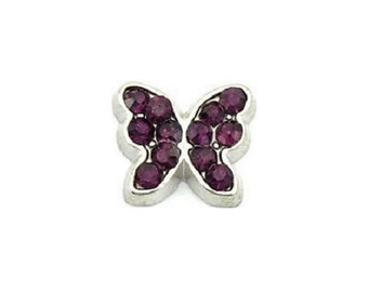 February Butterfly Birthstone Floating Charm