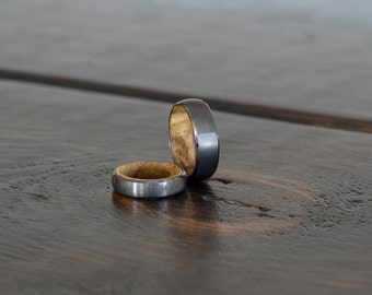 Wood Ring, wooden rings, wood inlay, tungsten carbide ring, wooden ring, wedding band, Fathers day, promise ring, mens, womens, gunmetal