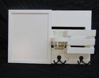Dryerase Board - Wall Hanging - Mail Holder - Letter Holder - EntryWay Organizer - Key Hooks - Jar Holder