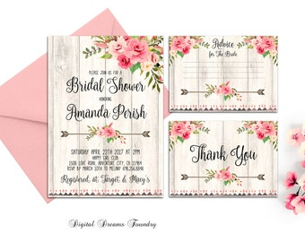 Boho Bridal Shower Invitation, Romantic Roses Bridal Shower Invite, Bohemian Bridal Shower, Printable Bridal Invite, Digital Invite