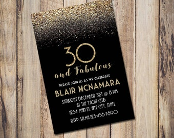 Digital Printable Birthday invitation for her Gold Glitter Milestone (21st, 30th, 50th, 60th) customizable for other occasions