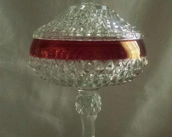 Indiana Glass Ruby Flash Compote Candy Dish