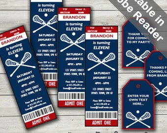 Lacrosse Party Invitations & Free Favor Tags. Editable PDF. Printable. Instant Download.