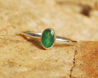 Natural Green Onyx Ring - Sterling Silver Ring - Handmade Jewelry - Wedding Ring - Gift for Her
