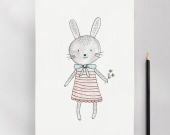 Little Bunny, Modern Nursery Kids Wall Art Print