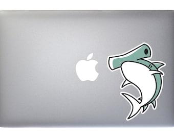 Cartoon Hammerhead Shark - Full Color Vinyl Decal for Macbook, Laptop, Wall, Window
