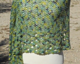 Variegated Green, Yellow-Green and Greenish-Blue Crocheted Ponchito