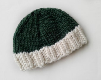 Chunky Knit Hat, Cap, Winter Hat, Beanie, Handknit, Color Blocked, Green, White
