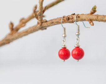 Red color earrings, Bright red earrings, Ohrringe rot, Rote ohrringe, Boucles d'oreilles rouge, Orecchini rossi, Pendientes rojos 8mm 0.3in