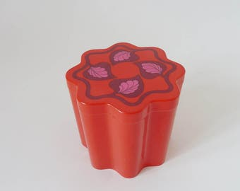 Red box, vintage plastic containers, plastic container/coffee can, floral pattern, 70s storage