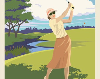 Any Golf Course Enthusiast customizable vintage look wall art Skidaway Island Savannah