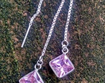 Pink Faceted Cubic Zirconia Diamond Drops, Sterling Silver Earthread Earrings