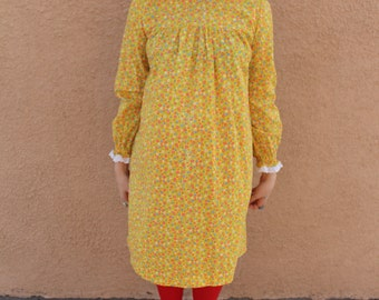 Sale Vintage 1960's Yellow Floral and Lace Handmade Smock Dress
