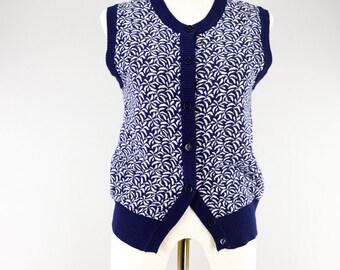 60s Japanese Granny Knit Vest/ Wool Acrylic Mix/ Mod Retro Vest/ Naxy Blue Abstract Pattern/ Boy Vest/ Grandma Grandpa Vest/ Size Small S