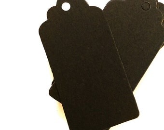 Black Kraft Tags w/ Strings /Gift Tags /Hang Tags/ Price Tags/ Name Tags/ Favor Tags/ Packaging Tags /Paper Tag / Scallop shaped 4*8cm 50pcs