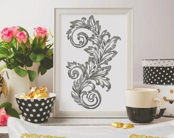 Machine Embroidery Design - Baroque Vintage Machine embroidery Design 3 sizes