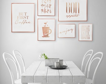 Lovely SET Of 6 Prints, Kitchen Prints, Coffee Poster, Kitchen Decor, Rose Gold
