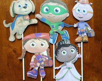 Super Why cake toppers - set of 5, centerpiece sticks, toppers, Super Why birthday party