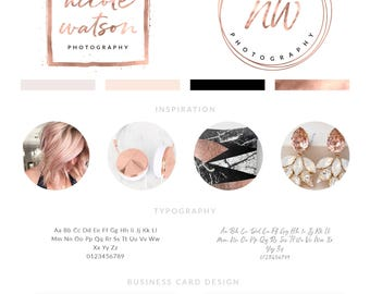 Rose Gold Foil Branding Kit, Premade logo design, branding kit set, handwritten calligraphy logo, Rose Gold Facebook cover, Branding Package