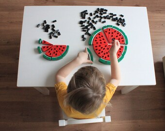 Watermelon BIG wooden counting puzzle (1-10), Montessori educational toy