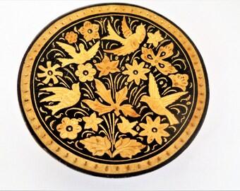 Spanish Plate, Small Damascene Toledo Plate, Gold Plate, Toledo Damascene Plate, Damasquine Toledo Spain