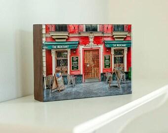 Wood block print, Spain photo, ready to hang art, desk art, art for shelf, Seville photo, kitchen decor, colorful art, small space art