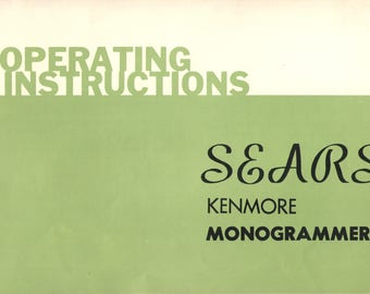 Sears Kenmore Monogrammer attachment operators owners manual vintage 1960's and 1970's sewing machine