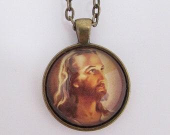 Jesus Photo Pendant, Jesus Pendant, Jesus Necklace, Christian Pendant, Christian Necklace, Christian Jewelry, Confirmation Gift