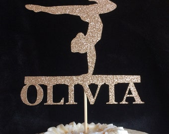 Gymnastics cake topper, personalized glitter topper, party centerpiece with name, custom cake topper, party supplies, made by papersbloom