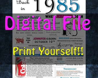1985 Personalized Birthday Poster, 1985 History - DIGITAL FILE!!