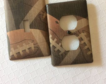Football Light Switch Cover- Light Switch Plate Covers ~ Sports Themed Room ~ Boys Lighting