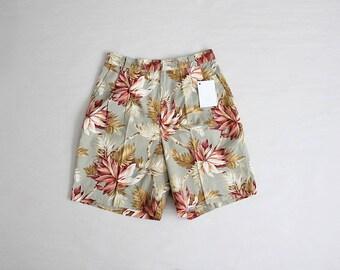 90s floral shorts   high waist shorts   green & pink floral shorts