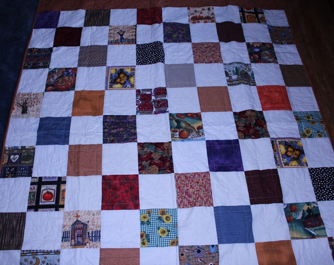 Fall quilt,Autumn Quilt,Earth tone quilt,Fall throw,Fall blanket,Harvest time quilt,Handmade quilt, Patchwork quilt,Full size quilt