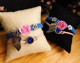 Friendship bracelets Charm bracelet Best friend gift Royal blue bracelet Pink flower jewelry Birthday gift Cord bracelet Crystal jewelry