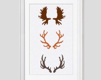 Antler cross stitch pattern, Deer antler counted cross stitch pattern, modern deer cross stitch pattern, trophy cross stitch pdf pattern