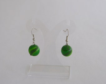 Polymer CLAY earrings in shades of green