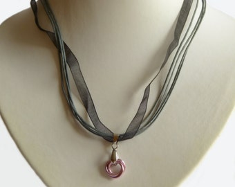 Pink pendant with organza Ribbon, Chainmaille