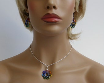 Set - flower Rainbow earrings and necklace pendant, Chainmaille