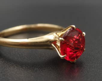 Vintage 14k yellow gold high-set synthetic ruby ring size 6.5