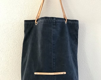 Repurposed blue tote with veg tan leather handles