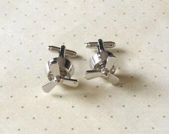 Propeller Air Plane Airplane Pilot Cufflinks Cuff Links in Silver