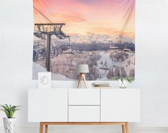Snow Tapestry | Winter Tapestry | Scenic Tapestry | Mountain Tapestry | Scenic Wall Decor | Mountain Wall Decor