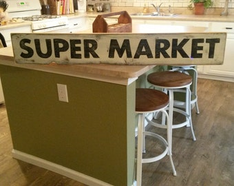 "Super Market Sign, Hand Painted Sign, Kitchen Sign, Wood Sign, Fixer Upper Sign, Farmhouse Decor, 4 foot Sign, 48"" Sign, Distressed Sign"